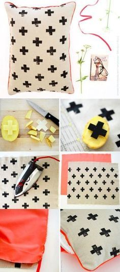 25 Home Decoration Organization and Storage Tips - Can't get enough of the classic potato stamp: DIY neon cross pillow. The Best of home decoration in Potato Print, Potato Stamp, Diy Home Crafts, Easy Diy Crafts, Simple Crafts, Fun Diy, Garden Crafts, Kids Crafts, Wood Crafts