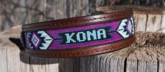 Personalized Leather Beaded Dog Collar by RecklessCharmDesigns on Etsy Beaded Dog Collar, Custom Dog Collars, How To Make Beads, Tack, Belts, Stitching, Beading, Unique Gifts, Quilting