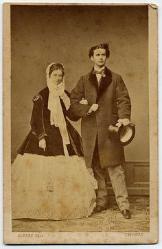 Ludwig II. King Of Bavaria With His Fiancée Sophie Charlotte Duchess In Bavaria.