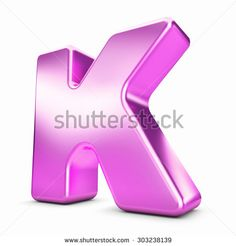 3d pink purple metal letter K isolated white background