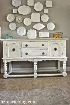 shabby chic white buffet. Using DIY chalk paint.
