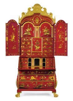 A rare and important German Baroque parcel-gilt and scarlet-japanned bureau cabinet Dresden, circa 1730  SOLD. 482,500 USD  Sotheby's