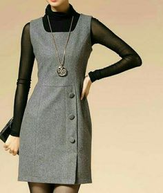 Yumper Simple Dresses, Cute Dresses, Casual Dresses, Dresses For Work, Chic Outfits, Dress Outfits, Hijab Fashion, Fashion Dresses, Hijab Stile