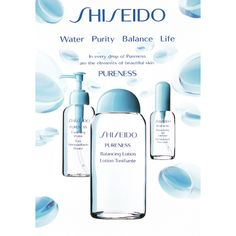 Water. Purity. Balance. Life. In 1994, Shiseido first created the Pureness line to help maintain a moisture balance without adding oils. The oil-control and blemish fighting skincare line is still a key part of our collection today! www.shiseido.com/...