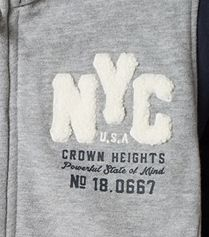 NYC Towelling Applique Graphic Chest Print