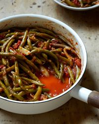 Braised Green Beans with Tomatoes and Garlic Recipe. Made 7/2014. Even better the next day!