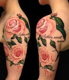 I have no idea what this tattoo says, but I love the roses.