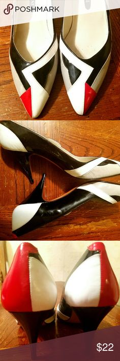 "SALE!!! EUC Retro MODIGLIANI Pumps Gorgeous and chic black, red, taupe, and white 3.25"" heels. The black is patent.  Comfortable and original, and sure to get you noticed! All leather and crafted in Spain. Excellent condition. Modigliani Shoes Heels"