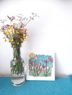 Quilling art, paper on canvas handmade by Quilling Art, Spring Flowers, Paper Art, Artworks, Glass Vase, Canvas, Decoration, Simple, Handmade