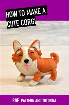 Dog Pattern, Pattern Sewing, Pet Toys, Baby Toys, Kawaii Felt, Felt Animal Patterns, Felt Dogs, Funny Toys, Sewing Toys
