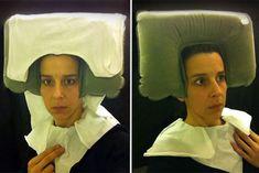 15th Century Flemish Style Portraits Recreated In Airplane Lavatory | Bored Panda