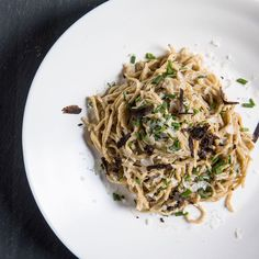 Noah Sandoval has created one of the most delicious pastas we've ever eaten. The fresh capellini is redolent with caraway and rye, and gets tossed with an umami-rich truffle butter sauce and just a whisper of citrus. Chef Recipes, Wine Recipes, Pasta Recipes, Pasta Sauces, Truffle Butter, Truffle Recipe, Capellini, Roasted Chicken Thighs, Homemade Almond Milk