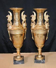 Pair Sevres Porcelain Gold Amphora Vases Urns Winged Griffin