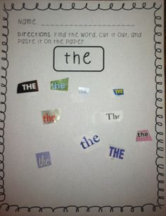 This is a great activity to keep stocked in your literacy centers! It's low prep and students LOVE it! I love it too for the additional fine motor practice it allows! The words are the first 25 High-Frequency Words by Fountas and Pinnell) To get sta Kindergarten Language Arts, Kindergarten Reading, Kindergarten Centers, Teaching Reading, Reading Lessons, Teaching Sight Words, Sight Word Practice, Sight Word Activities, Early Childhood Education