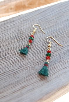 Minimalist Earrings, Christmas Earrings, Dainty Christmas earrings, Cute Earrings, Tiny Dainty Earrings, Holiday Earrings, Simple Small earrings, Tassel Earrings, Boho earrings, Xmas earrings, Xmas Gifts, Gifts Under 10, Red Green earrings, Forest green earrings