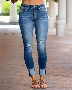 Load image into Gallery viewer, Mid Zipper Blue Denim Jeans Ripped Denim, Blue Denim Jeans, Skinny Fit Jeans, Trend Fashion, Denim Fashion, Women's Fashion, Online Shopping, Jeans Style, Casual Pants
