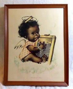 "Washboard Blues Framed Print by Charlot Byj 18""x 14"" African American Baby Angel   eBay"