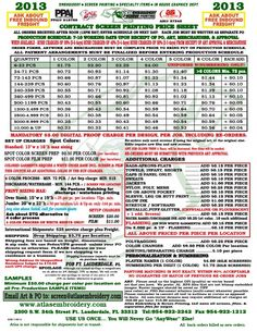 2013 Pricing Guide from Atlas Embroidery