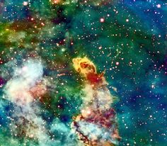 This extremely large outflow in theCarina Nebula, known as Herbig-Haro 666 (HH 666). Ionized gas squirts out along the polar axis of the hidden young star in this jet-like outflow at speeds up to 500,000 mph.