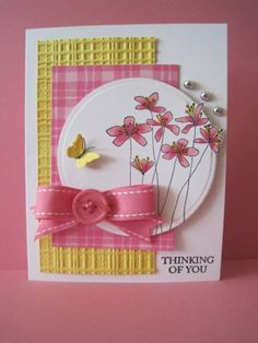 Flower circle. I love the yellow textured piece. Makes me ready for spring cards.