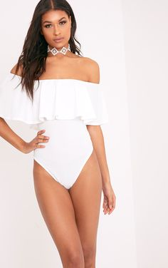 Rebekah Cream Bardot Frill Bodysuit