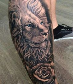 125 Best Lion Tattoos For Men: Cool Designs + Ideas Guide) - Unique Lion Leg Tattoo Designs – Best Lion Tattoos For Men: Cool Lion Tattoo Designs and Ideas Fo - Lion And Rose Tattoo, Lion Leg Tattoo, Lion Head Tattoos, Rose Tattoos For Men, Mens Lion Tattoo, Lion Tattoo Design, Leg Tattoo Men, Trendy Tattoos, Tattoo Designs Men