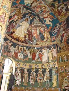 Liturgical interior Byzantine Architecture, Church Interior, Byzantine Icons, Early Christian, Catholic Art, Orthodox Icons, Mural Art, Christianity, Painting