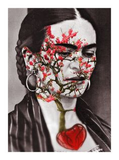 Frida Kahlo Art Photomontage Print Quote Original 5x7 Signed Mixed Media Collage Wishes Modern Home Wall Decor