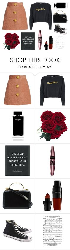 """""""City"""" by tipsymermaid ❤ liked on Polyvore featuring River Island, Narciso Rodriguez, Maybelline, Mark Cross, Lancôme and Converse"""