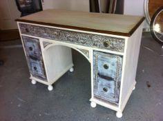 antique desk/vanity redone