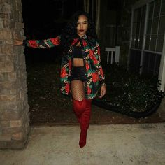 Red | Thigh High Boots | OTK Boots | Fishnets | Black Beauty | Melanin Poppin | Urban Style | Clubbing Outfit | Night Out | Winter Makeup   <3 @benitathediva
