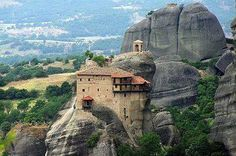 Meteora, Greece. This amazingly constructed home is built within the hill top