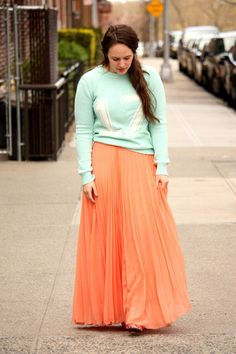 chictopia, courtney hayes  coral pleated Zara skirt - aquamarine sporty Forever 21 jumper
