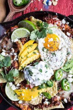 Carnitas Chilaquiles with Whipped Jalapeño Cream