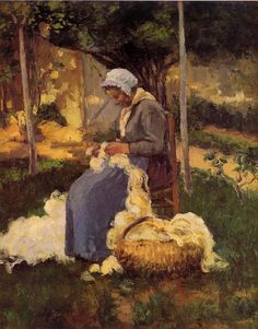 Female Peasant Carding Wool - Camille Pissarro
