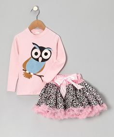Take a look at this Pink Owl Tee & Leopard Pettiskirt - Toddler & Girls on zulily today!