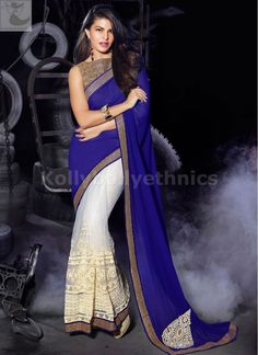 Designer Sarees online shopping in USA UK Canada|Buy Jacqueline Fernandez rblue and half white Party