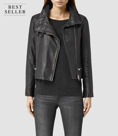 ALLSAINTS US: Womens Bales Leather Biker Jacket (Black)