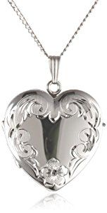 "Sterling Silver Engraved 4-Picture Heart Locket, 20""  http://electmejewellery.com/jewelry/necklaces/lockets/sterling-silver-engraved-4picture-heart-locket-20-com/"