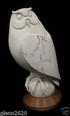 """White Owl"" Alabaster Sculpture Carved by Dennis R. Christy Chippewa Tribe 1994 19.5 inches high, Ebay and in our store, $2200"