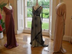 Costumes worn by Michelle Dockery as Lady Mary Crawley, Laura Carmichael as Lady Edith Crawley, and Elizabeth McGovern as Lady Cora Crawley, Countess of Grantham, in Downton Abbey, 2010