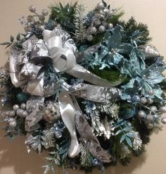 Elegant Aqua and Silver Wreath  Found in Colours of Canterbury on Facebook
