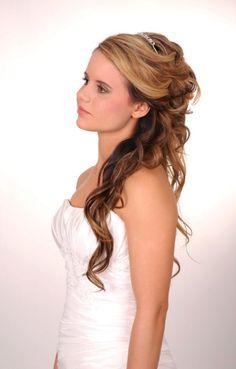 big bridal hair with tiara