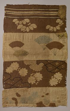 Tsujigahana Textile with Horizontal Stripes, Flowering Plants, Fans, Snowflakes, Clouds, and Bellflowers
