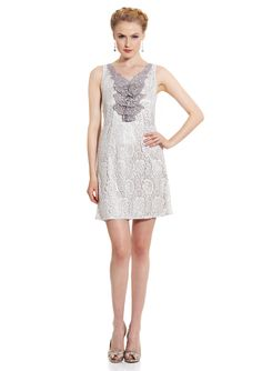 e4f306c9147f GRACIA  Sleeveless Lace Shift Dress Ruffle Trim