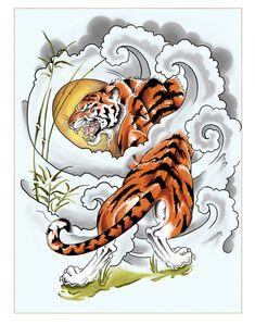 Perseverance Tattoo Design by on DeviantArt Japanese Tiger Tattoo, Japanese Tattoo Designs, Japanese Tiger Art, Tiger Tattoo Sleeve, Sleeve Tattoos, Mens Tiger Tattoo, Irezumi, Perseverance Tattoo, Tiger Tattoodesign