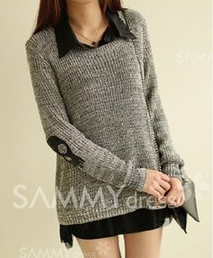 Womens Pure Color Stitching of Fashion V-Neck and BlousesCoats Outerwear Coat Hoodies Sweater Long Sleeve