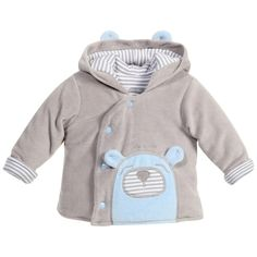 Tutto Piccolo baby boys grey and lightly padded pram coat witha doggy embroidered print on the front andcute ears on the hood. It has a stripy cottonlining and poppers fastening at the front.<br /> <ul> <li>Coat: 80% cotton, 20% polyester (super soft cotton velour)</li> <li>Lining: 100% cotton</li> <li>Padding: 100% polyester</li> <li>Machine wash (30*C)</li> <li>Designer colour: Grey Porcelain</li> <li>Small Fitting</li> </ul>