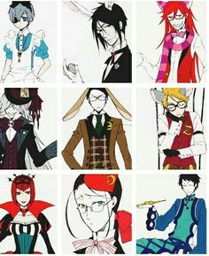 Black Butler characters, Ciel, Sebastian, Grell, Undertaker, William, Ronald, Angelina, Madame Red, Lau, Alice in Wonderland, outfits; Black Butler