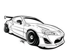 Rocket Bunny FRS Car Silhouette, Automotive Design, Race Cars, Design Art, Bunny, Manga, Drawings, Tips, Tatoo